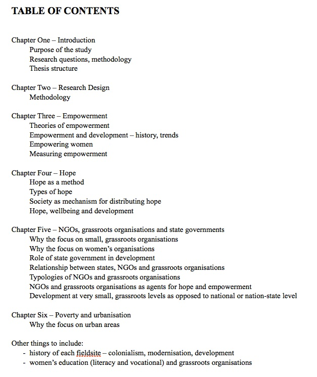 Contents of a thesis