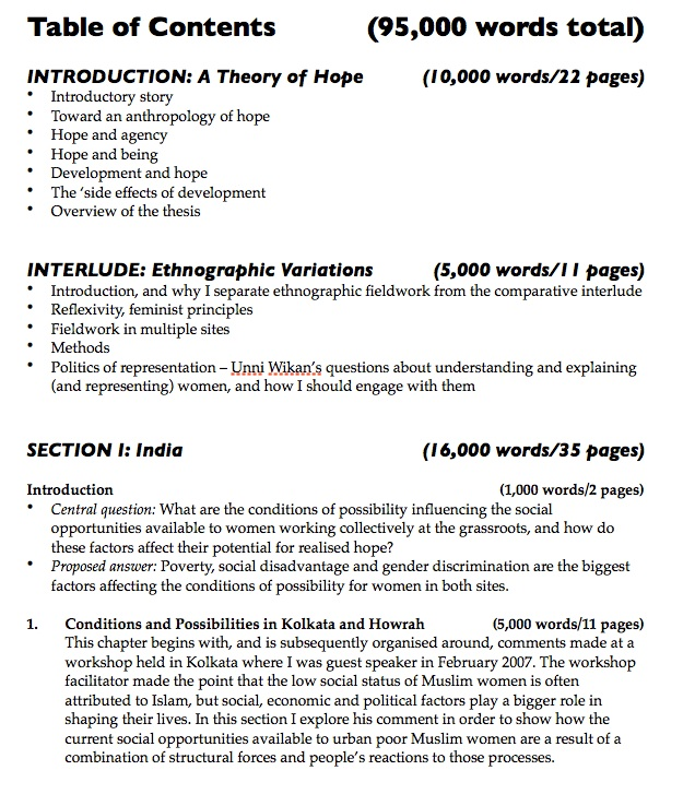 Planning and writing a thesis with a table of contents